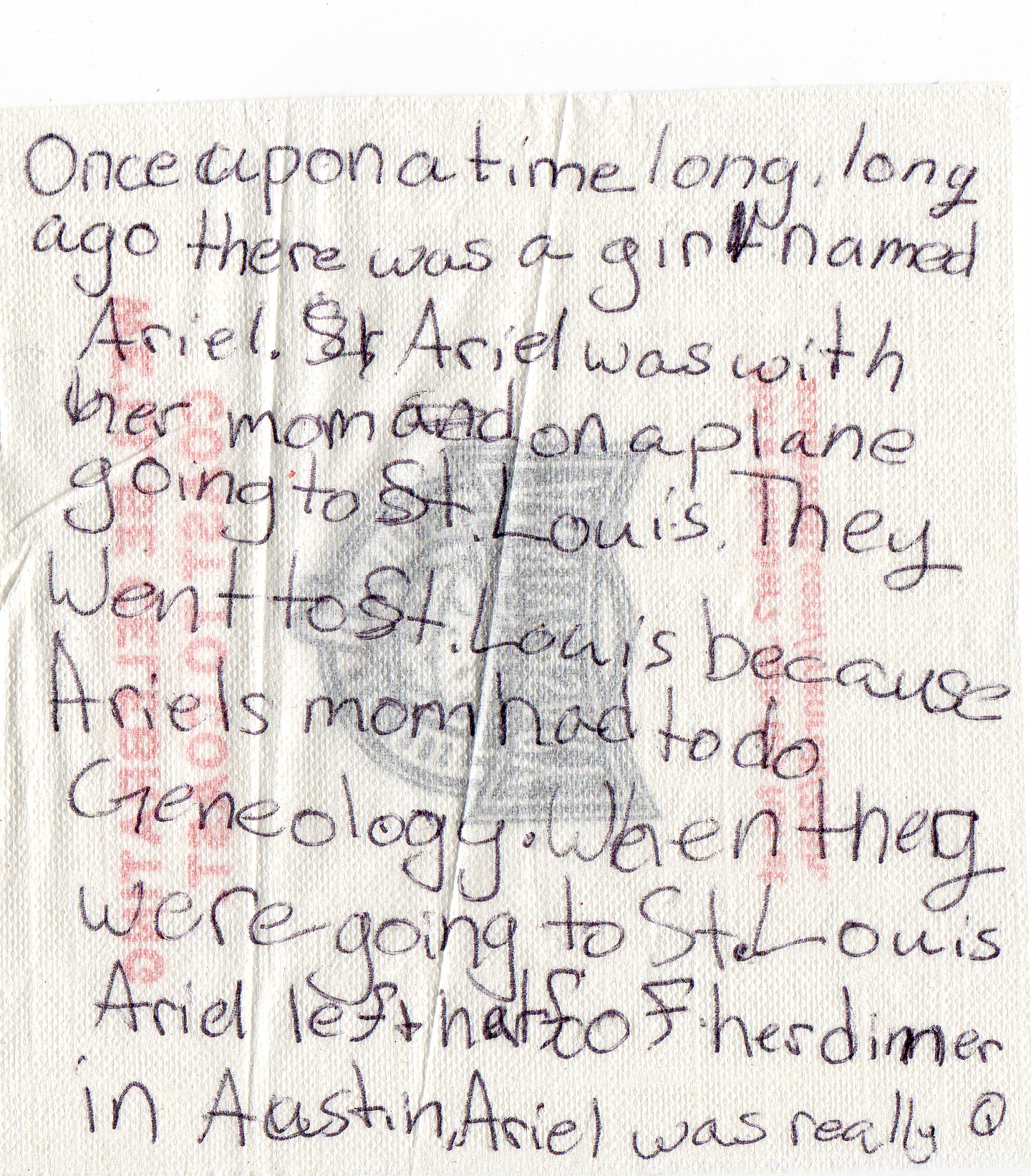 Story on Airline Napkin part 1